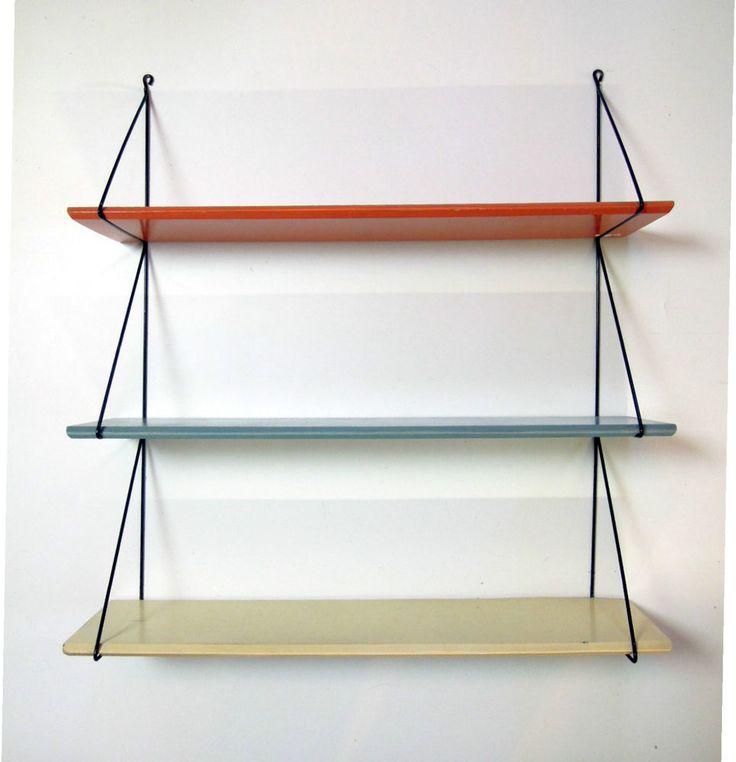 Danish Modern String Wall Ladder Shelf Modular Bookshelf