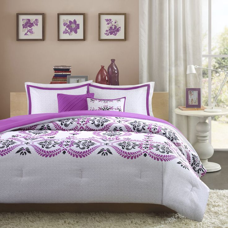 beautiful modern chic purple plum black grey white textured girls comforter set in comforters u0026 sets