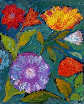 """Abstract Floral Painting, Bold Flowers Art Print 8x10"""", Contemporary Bohemian - tropical - Prints And Posters - Other Metro - Delinda Boutiq..."""