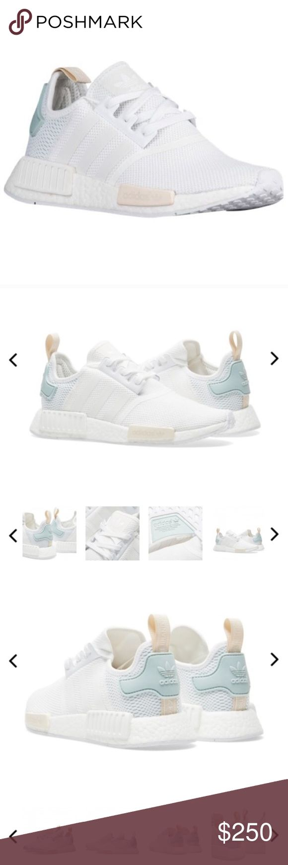 Authentic adidas nmd reflective white & mint. RARE RARE AND SOLD OUT. White adidas women's nmd's in white and mint. Comes in box. Authentic. Stripes on side are reflective  Adidas Shoes Sneakers