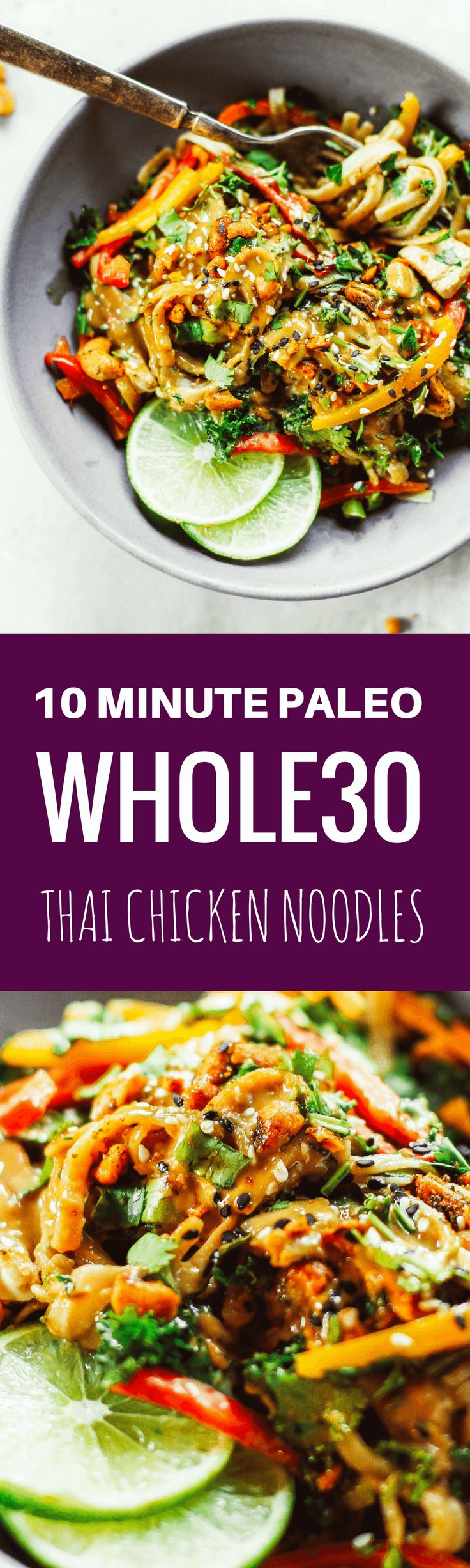 "Meet your lunch plans.  Healthy whole30 Thai chicken noodles with ""peanut"" sauce, kale, and bell peppers. An easy family friendly meal, serve hot or cold! Easy whole30 dinner recipes. Whole30 recipes. Whole30 lunch. Whole30 recipes just for you. Whole30 m"