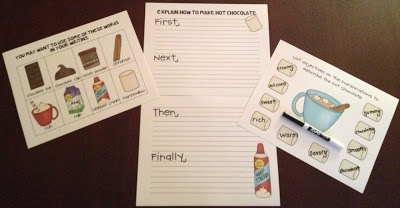 Hot Chocolate Procedural Writing activity.  Perfect for literacy stations on a cold, winter day!