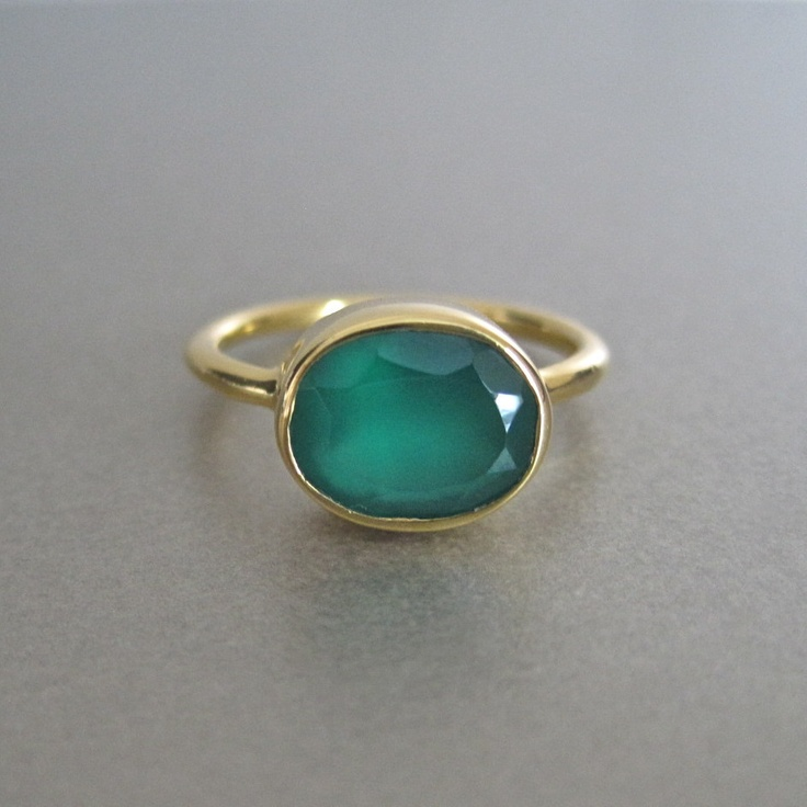 Green Onyx Oval Ring Tangerine jewellery shop