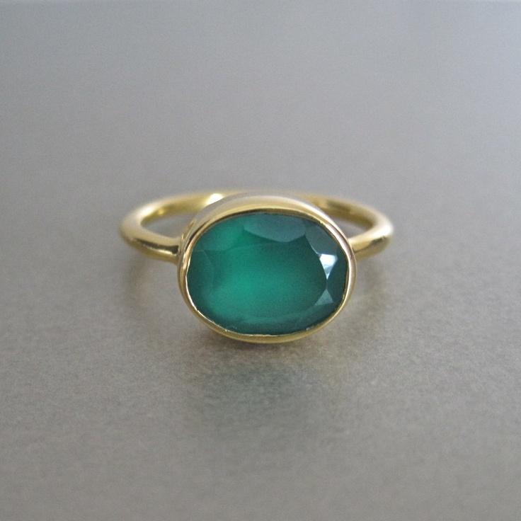 Green Onyx Oval Ring Tangerine jewellery shop
