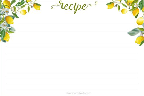 photo about Free Printable Recipes titled Absolutely free Printable Lemon Tree Recipe Card Raspberry Swirls