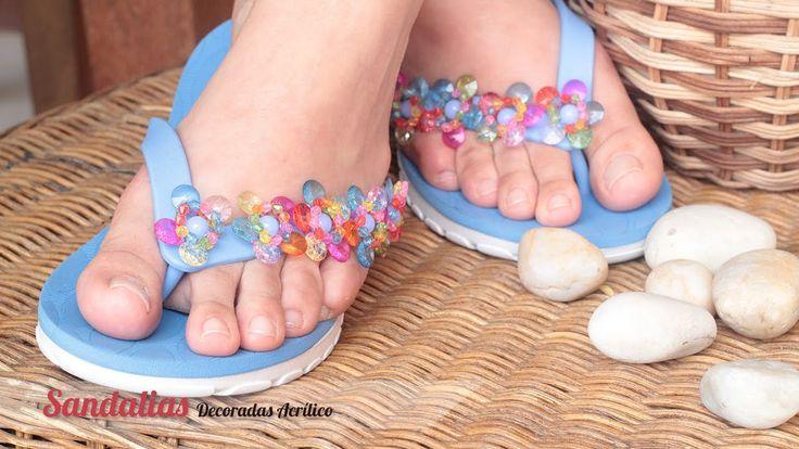 Cómo hacer o decorar sandalias con acrílicos | Variedades y Fantasías Carol