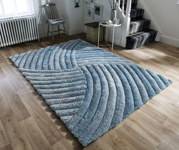 Verge Furrow Duck Egg Rugs - Buy Furrow Duck Egg Rugs Online from Rugs Direct