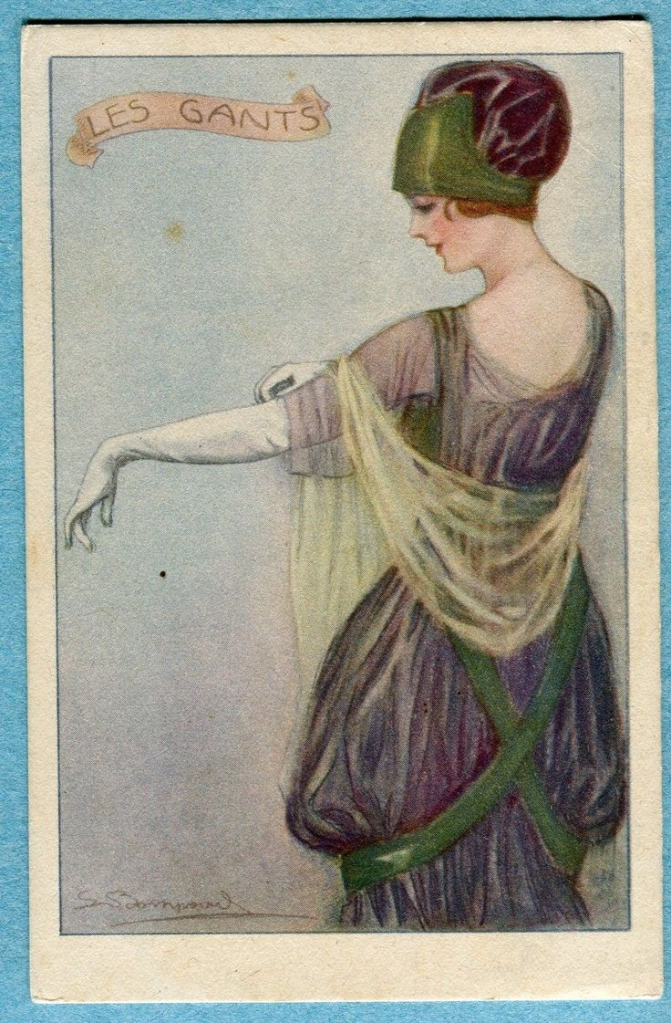 X9247 Postcard Bompard Les Gants Woman in Purple with Long Gloves | eBay