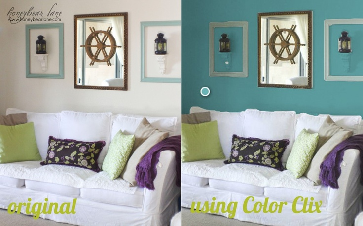 A virtual room painter. Take a pic of a room, and use this site to pick colors to see what it will look like before commiting! (Faux frames)