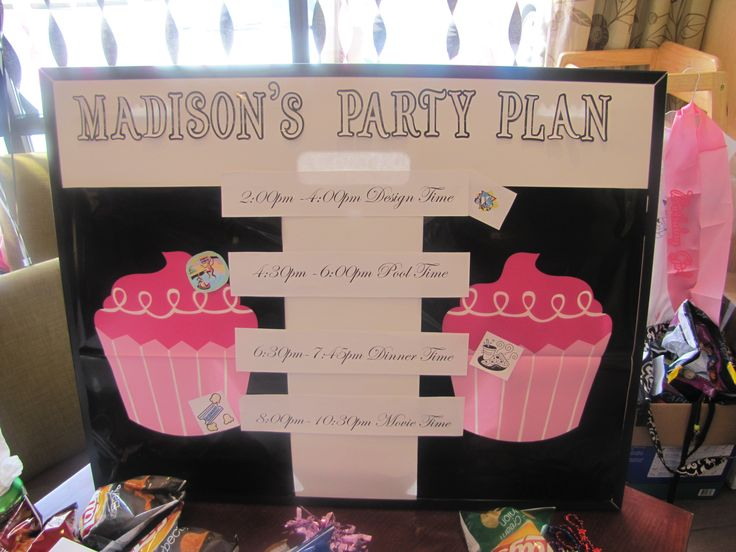 Celebrate a tween birthday hotel party by having an evening filled with fun.  Create a poster that list your activities for the event.