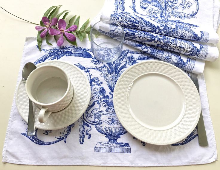 A personal favorite from my Etsy shop https://www.etsy.com/listing/520024346/chinoiserie-set-of-4-linen-placemats