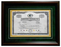 green bay packers shareholder stock certificate frame
