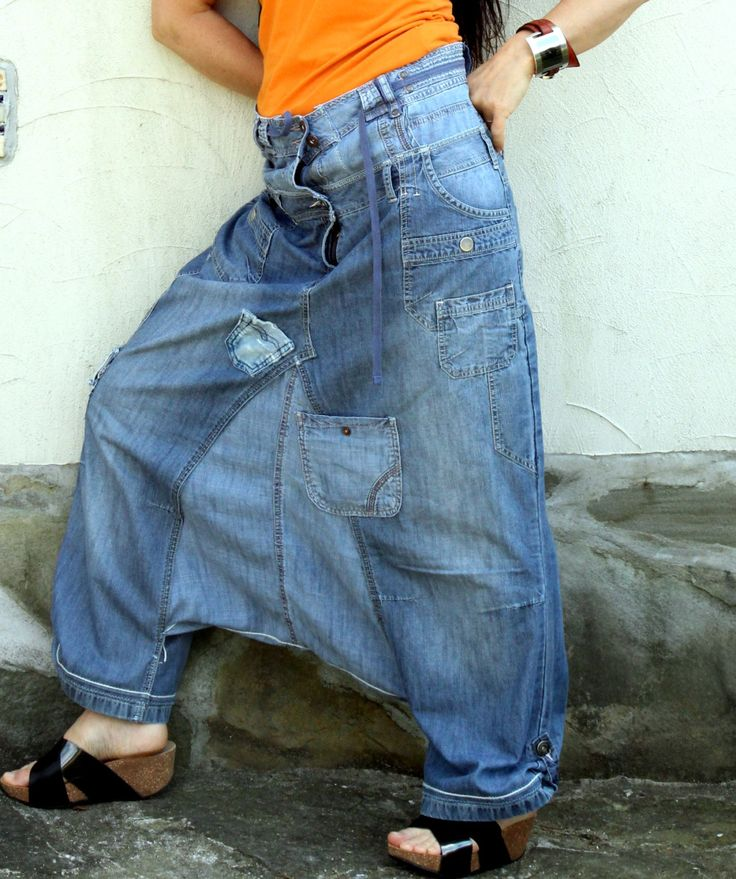 L-XL Crazy recycled jeans yoga pants by jamfashion on Etsy