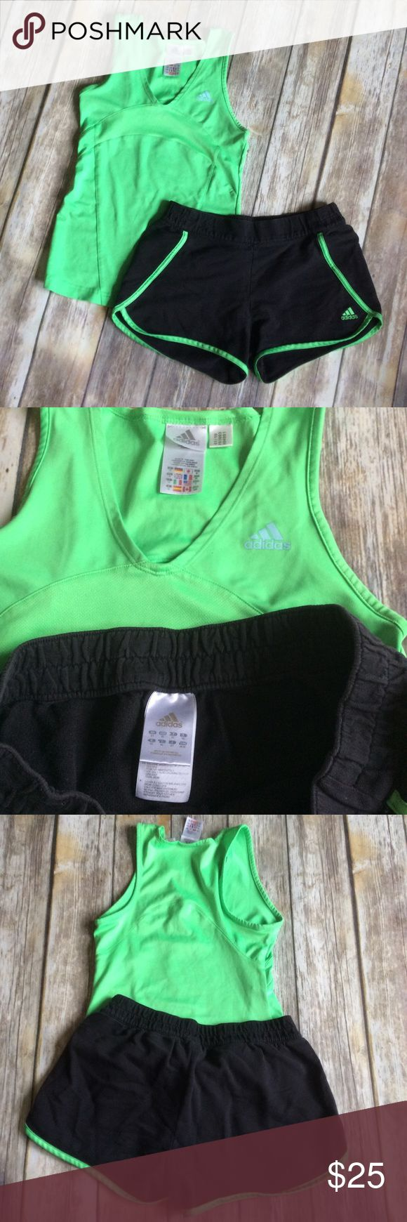 Adidas Athletic Tank & Shorts Set size S/M Great condition neon green tight fit athletic tank with black and green shorts. The top is a size small and the bottoms are a size medium. The shorts show some fading from washing but are still in great shape. ❌no trades, holds, or lowball offers. ✅Clean and smoke free home, quick shipping, bundle discount, always! 🎁Free gift with $15+ bundle. Adidas Shorts