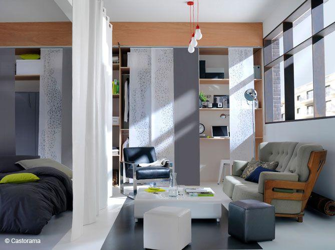 Cloisonner un petit espace: Chambr Dado, Déco Petite Espac, Astuc Deco, Idea, Small Apartment, Studios Apartment, Chambr Salons, Panneaux Filtrant, Cloison Amov