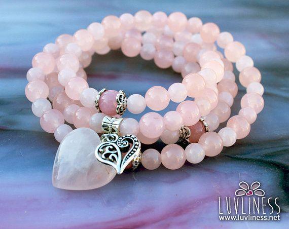 #valentinesday #attractlove #rosequartz #mala #buddhist  Valentine's Day Rose Quartz Attract Love 108 Bead Gemstone Mala by luvliness