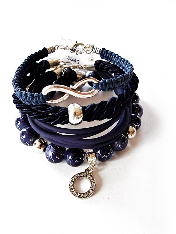 Set of 4 Bracelets Navy Blue Infinity Bracelet Beaded Bracelets Silk Rope Bracelet Woven & Braided Bracelets Friendship Bracelet Macrame by MadeByJoLis on Etsy