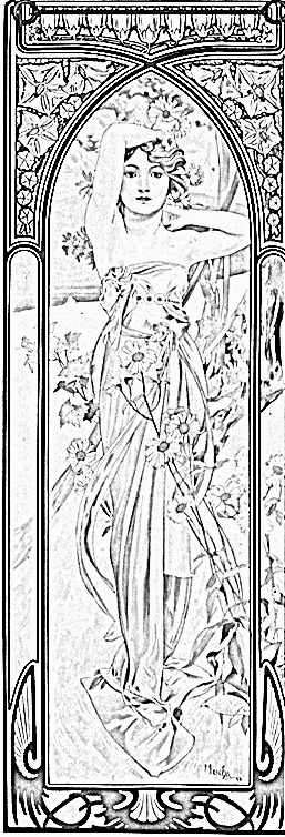 Dessin Vrouw Alfons Mucha: Tekening-Kleurplaat-Patroon-Prent *Drawing-Colouring Picture-Pattern ~Brightness of Day (1899)~