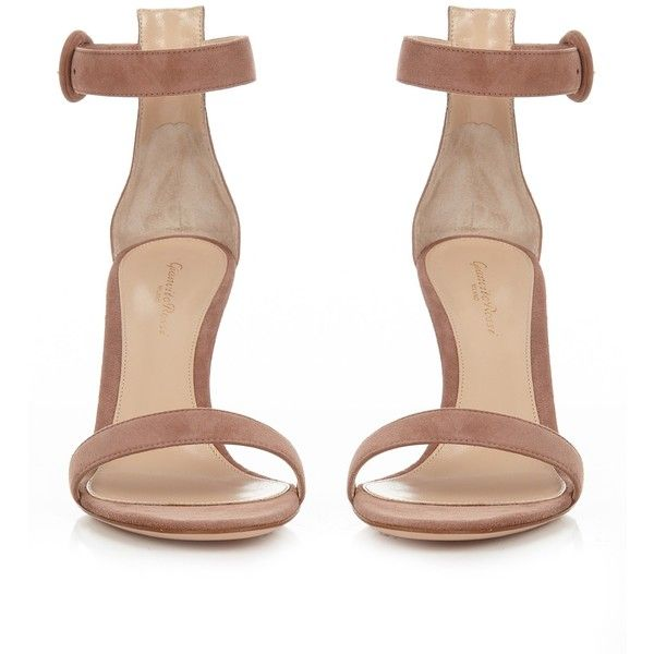 Gianvito Rossi Portofino suede sandals (£630) ❤ liked on Polyvore featuring shoes, sandals, heels, zapatos, pink heeled shoes, pink shoes, pink heel sandals, suede shoes and pink sandals