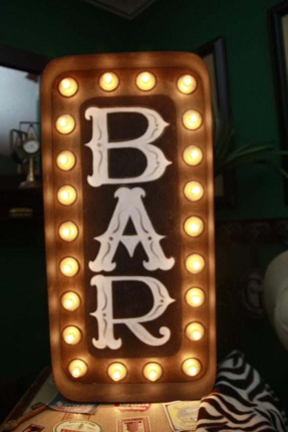 Big Rectangle Lighted BAR Marquee Sign 14 x 30 X by GlitterGlamour, $249.99