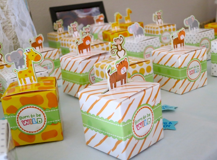 Baby Shower Favor Boxes Pinterest : Born to be wild favor boxes filled animal crackers king