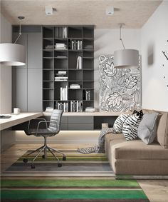 Nice 55 Modern Contemporary Gray Home Office Design Ideas   VIs Wed