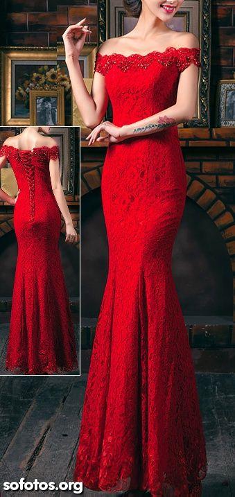 Vestido de festa vermelho sereia