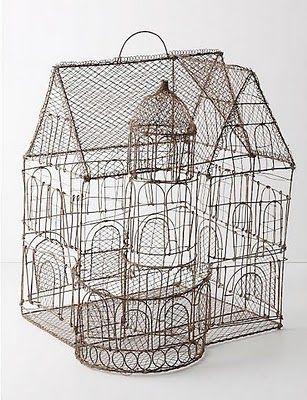 Wire bird cageBirdhouses, Birds Cages, Aviary Castles, Birdcages, Birds House, Art House, Wire Art, Dolls House, Wire Birds