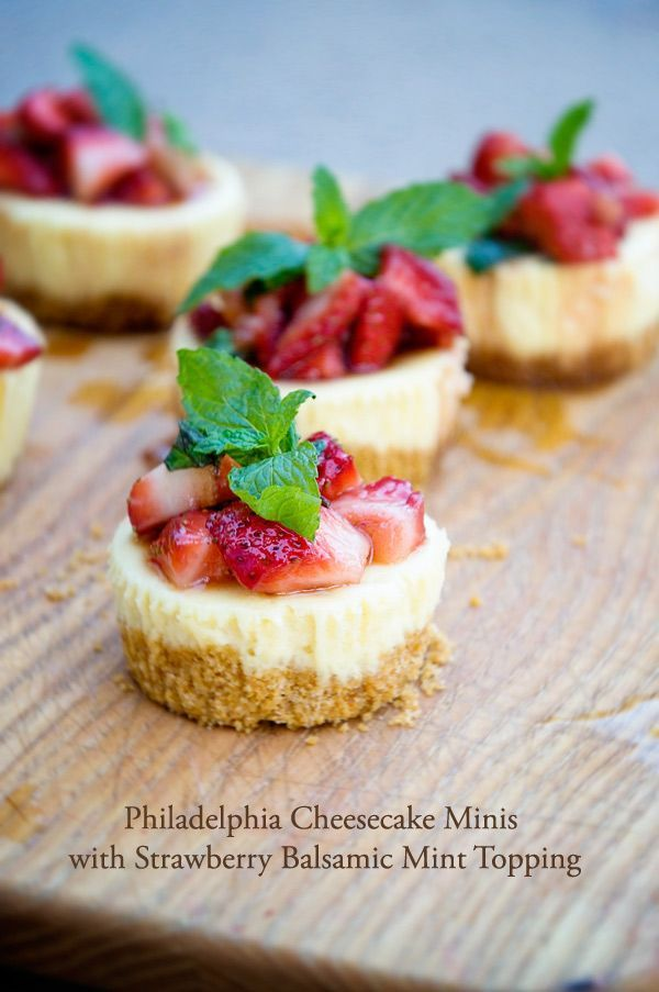 Cheesecake Minis with Strawberry Balsamic Mint Topping - dineanddish.net