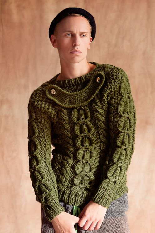 I'd love to knit a chunky cable sweater like this for Patrick but the weather is just too warm here - he'd only get to wear it a few days a year