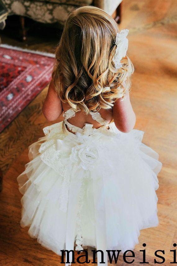 От кутюр принцесса бретелька белый и слоновая кость шнуровка кристалл створки до щиколотки длина бальное платье пачка цветок девочка платье ну вечеринку день рождения