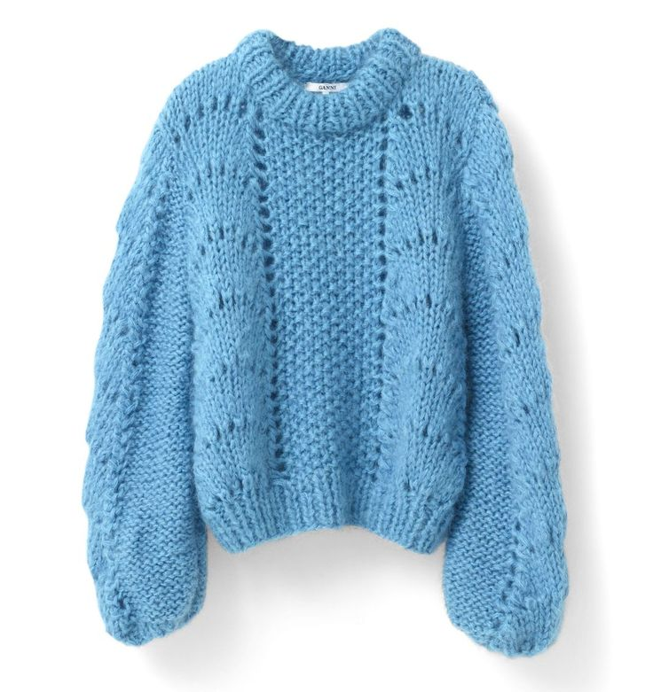 Christmas Jumpers - The Most Fashionable Jumpers This Festive Season - This Powder Blue Knit From Ganni Is All We Want For Christmas