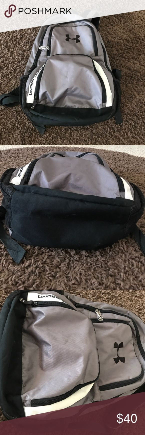 Under Armour black/gray backpack Used, but in great condition! Black and gray in color. All pictures show the normal wear the backpack has, no major stains, rips or tears. Inside of the backpack is perfect with no flaws. Adjustable straps that are nicely padded. Under Armour Bags Backpacks