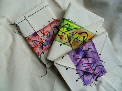 Some of my handpainted fabric covered journals.Calligraphic marks done with a ruling pen.