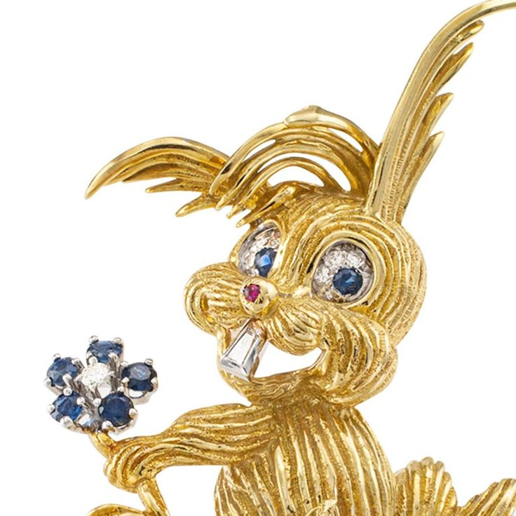 Happy-Go-Lucky Diamond and Sapphire Bunny Brooch | From a unique collection of vintage brooches at https://www.1stdibs.com/jewelry/brooches/brooches/
