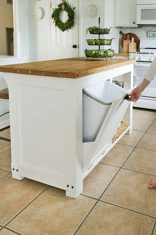 Diy Kitchen Island With Trash Storage This Brillant Island Design
