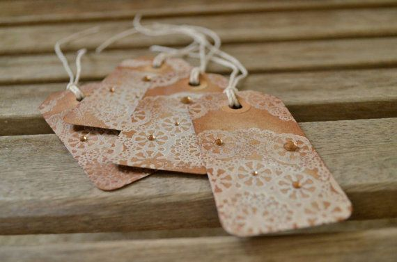Rustic Lace Tags with bling, Original Art