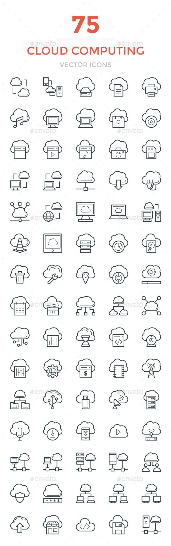 75 Cloud Computing Vector Icons. Download here: https://graphicriver.net/item/75-cloud-computing-vector-icons/17045594?ref=ksioks