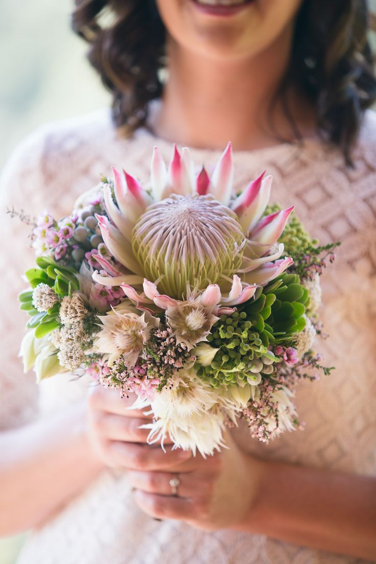 Fynbos bouquet of King protea, blushing brides, wax and succulents. Thanks to Sophie Smith Photography