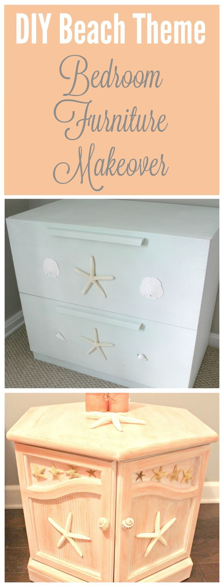 Check out this DIY Bedroom furniture makeover! Full, easy-to-follow tutorial included!  I love using this technique for old furniture makeover projects.  It is so simple and fun.  This creates the perfect beach theme or antique looking furniture for any room in your home! | Chalk paint and color washing projects for DIY home decor