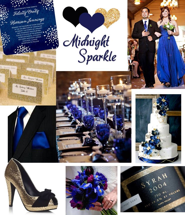 Black, Blue, and Gold Wedding