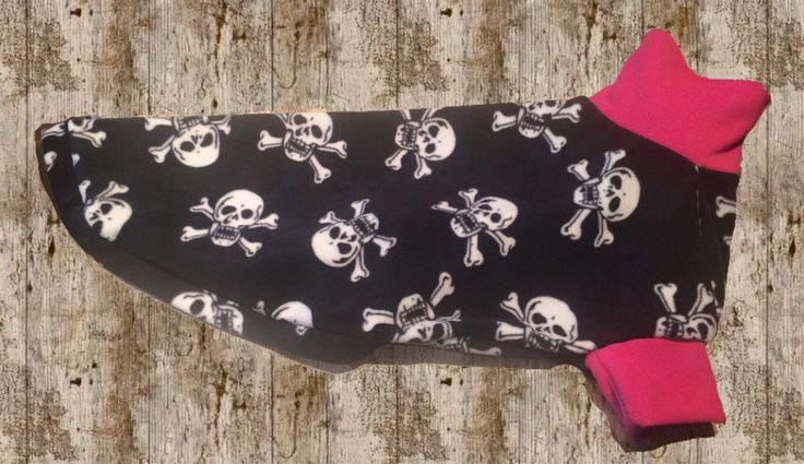 Greyhound fleece pjs- pirate skull pink lurcher whippet hound dog jumper coat pyjamas pajamas made to measure bespoke clothing housecoat by FreemakerHounds on Etsy https://www.etsy.com/listing/525531526/greyhound-fleece-pjs-pirate-skull-pink