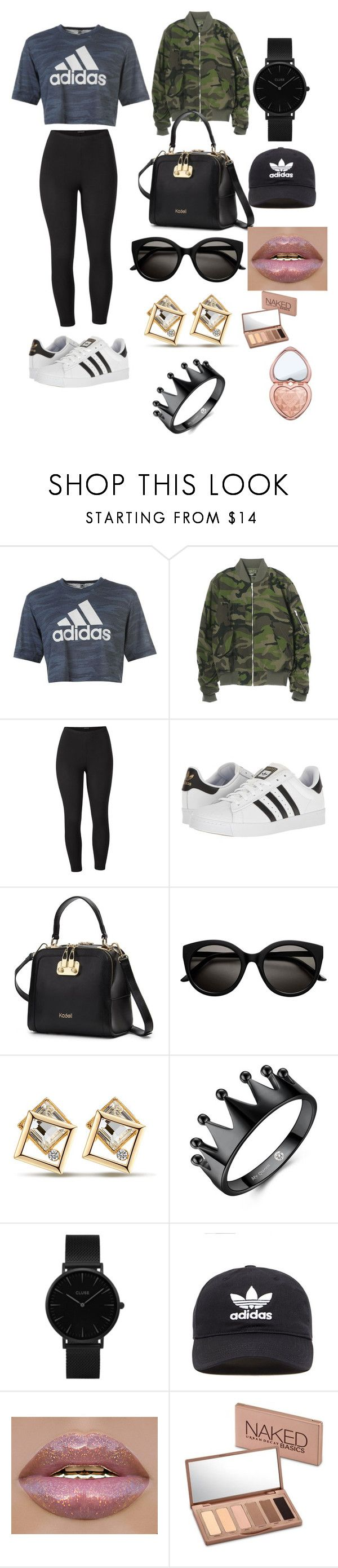 """""""Untitled #23"""" by sophiajanethompson on Polyvore featuring adidas, Venus, CLUSE, adidas Originals, Urban Decay, Too Faced Cosmetics and plus size clothing"""
