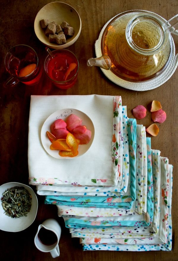 Make some pretty napkins or tea towels, seen at the purl bee.  Don't forget you can make your own bias tape and really personalize your project.