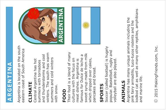 Argentina Fact Card for Thinking Day