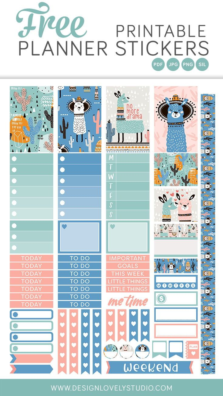 Free printable llama planner stickers subscription for For planner