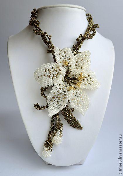 Necklace, handmade beads.  Fair Masters - handmade Necklace White Lily.  Handmade.