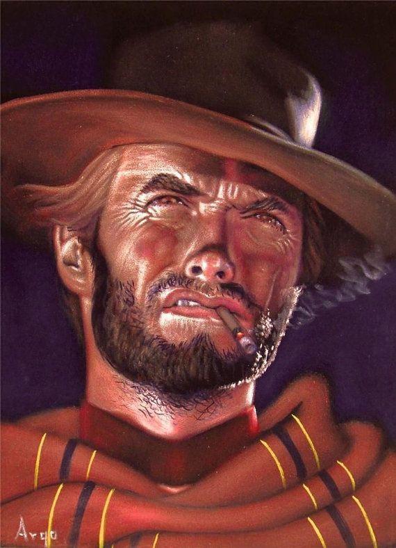 Clint Eastwood badass cowboy legend black velvet oil ...