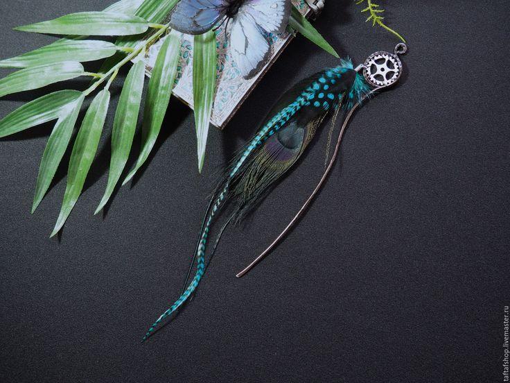 Шпилька для волос, с перьями - Волна, синий, стимпанк - перо, перья, перья в волосы