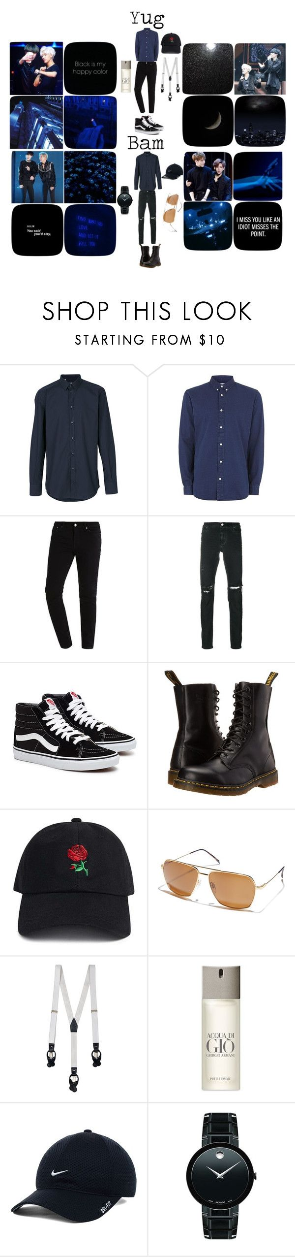 """yugbam"" by delarosamelody15 ❤ liked on Polyvore featuring Dolce&Gabbana, Topman, RtA, Dr. Martens, 21 Men, Electric, La Perla, Giorgio Armani, NIKE and Movado"